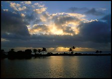 Sunrays and clouds at sunrise, Bayfront. Biscayne National Park ( color)