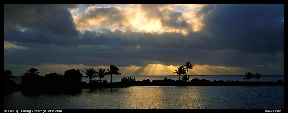 Sunrise with dark clouds over coastal lagoon. Biscayne National Park (color)