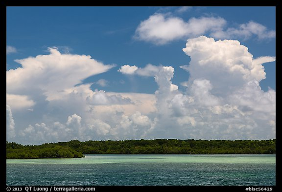 Barrier island, shallow waters, and afternoon clouds. Biscayne National Park (color)