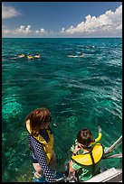Snorkelers entering water. Biscayne National Park ( color)