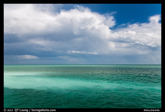 Sand bars, light and clouds, Atlantic Ocean. Biscayne National Park (color)