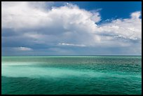Sand bars, light and clouds, Atlantic Ocean. Biscayne National Park ( color)