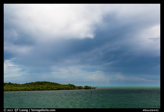 Elliot Key, Caesar Creek, and thunderstorm clouds. Biscayne National Park (color)