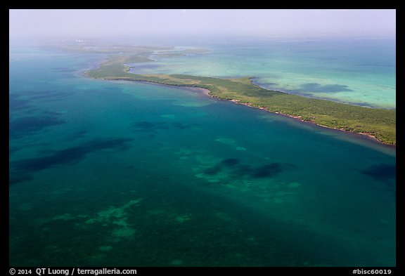Aerial view of reef and Elliott Key. Biscayne National Park (color)