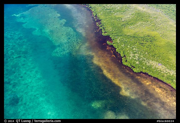 Aerial view of reef and shoreline. Biscayne National Park (color)