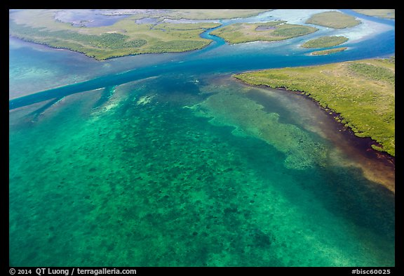 Aerial view of Ceasar Creek Bank. Biscayne National Park (color)