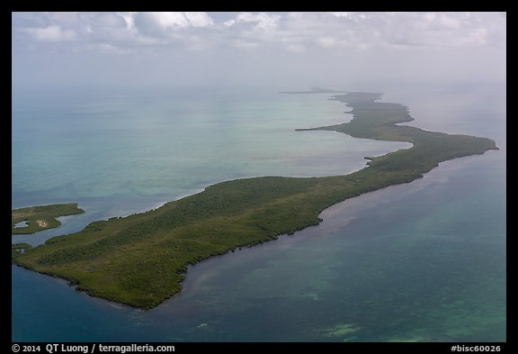 Aerial view of barrier island keys. Biscayne National Park (color)