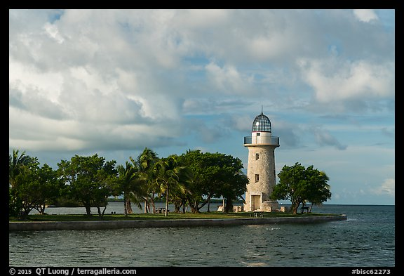Trees and lighthouse, Boca Chita Key. Biscayne National Park (color)