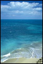 Open ocean view with beach, turquoise waters and surf. Dry Tortugas National Park, Florida, USA. (color)