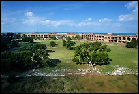 Parade grounds of Fort Jefferson. Dry Tortugas National Park, Florida, USA. (color)