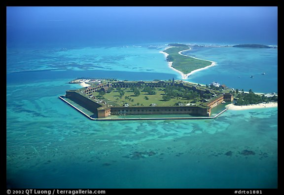Aerial view of Garden, Bush, and Long Keys. Dry Tortugas National Park (color)