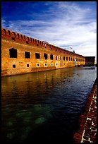 Fort Jefferson moat and thick brick walls. Dry Tortugas National Park, Florida, USA. (color)