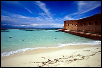 Beach and Fort Jefferson. Dry Tortugas National Park, Florida, USA. (color)