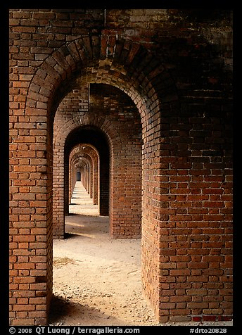 Arches on the second floor of Fort Jefferson. Dry Tortugas National Park (color)