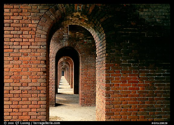 Gallery of brick arches, Fort Jefferson. Dry Tortugas National Park (color)