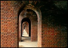 Gallery of brick arches, Fort Jefferson. Dry Tortugas National Park, Florida, USA. (color)