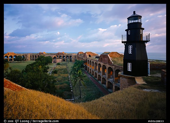 Fort Jefferson lighthouse, dawn. Dry Tortugas  National Park (color)