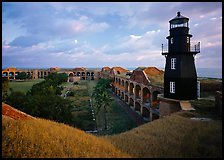 Fort Jefferson lighthouse, dawn. Dry Tortugas National Park, Florida, USA. (color)