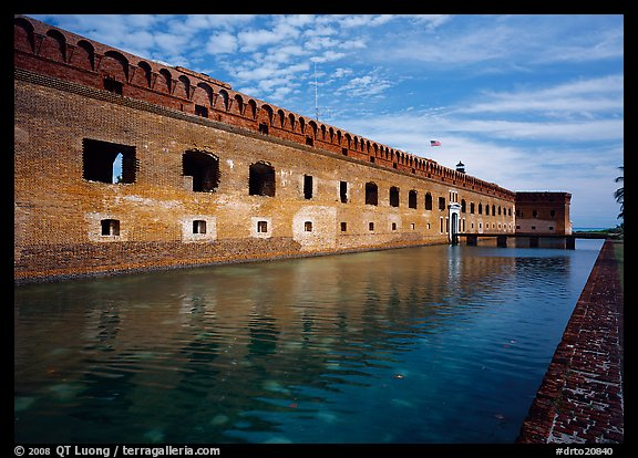 Fort Jefferson moat, walls and lighthouse. Dry Tortugas National Park (color)