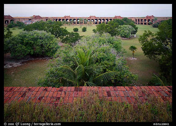 Courtyard of Fort Jefferson with lawn and trees. Dry Tortugas  National Park (color)