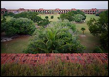 Courtyard of Fort Jefferson with lawn and trees. Dry Tortugas National Park, Florida, USA. (color)