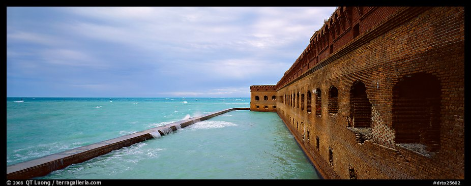 Oceanscape with brick wall. Dry Tortugas  National Park (color)
