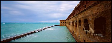 Oceanscape with brick wall. Dry Tortugas National Park (Panoramic color)