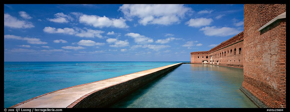 Moat and Fort Jefferson brick wall. Dry Tortugas  National Park (color)