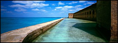 Seawall, moat, and Fort Jefferson. Dry Tortugas National Park (Panoramic color)