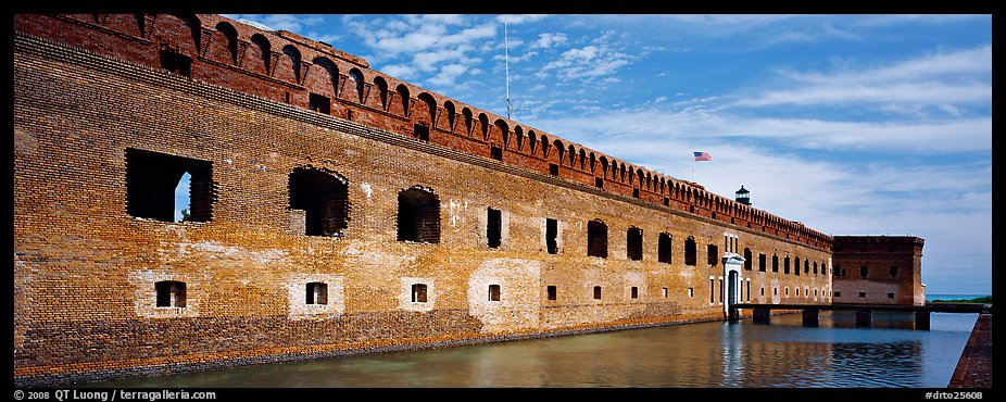 Fort Jefferson reflected in moat. Dry Tortugas National Park (color)