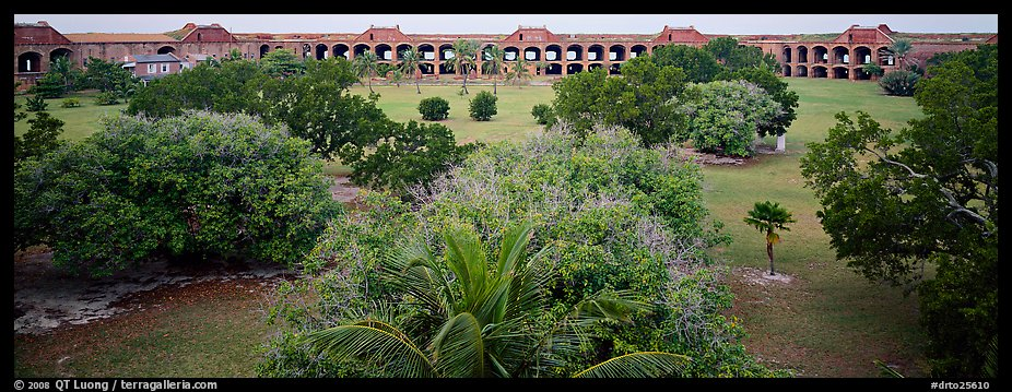 Grassy courtyard of Fort Jefferson. Dry Tortugas National Park (color)