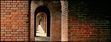 Brick walls and arches. Dry Tortugas  National Park (Panoramic color)