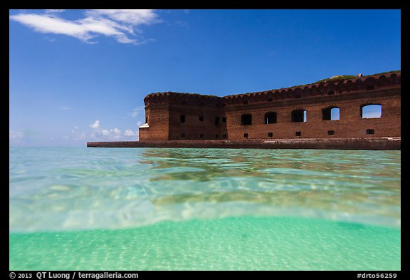 Split view of Fort Jefferson and clear sandy bottom. Dry Tortugas National Park (color)