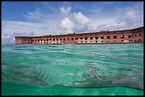 Split view of Fort Jefferson and water with fish. Dry Tortugas National Park ( color)