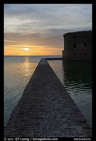 Fort Jefferson seawall and moat at sunset. Dry Tortugas National Park (color)