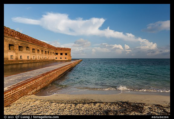 North Beach and Fort Jefferson, early morning. Dry Tortugas National Park (color)