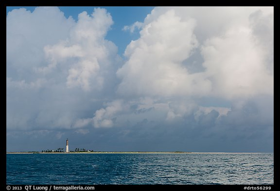 Loggerhead key and lighthouse under tropical clouds. Dry Tortugas National Park (color)
