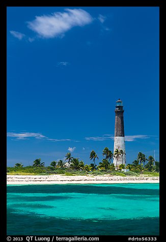 Loggerhead Light, palm trees and turquoise waters. Dry Tortugas National Park (color)