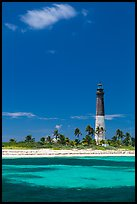 Loggerhead Light, palm trees and turquoise waters. Dry Tortugas National Park, Florida, USA. (color)