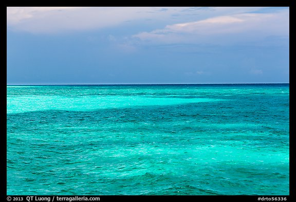 Turquoise waters over shallow sand bars, Loggerhead Key. Dry Tortugas National Park (color)