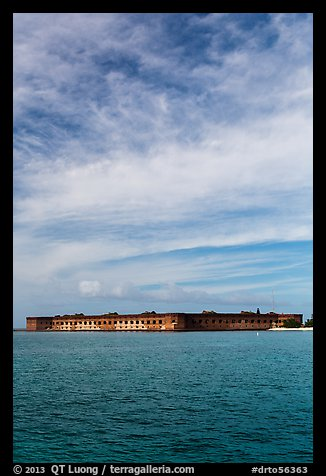 Fort Jefferson and cloud above Gulf waters. Dry Tortugas National Park (color)