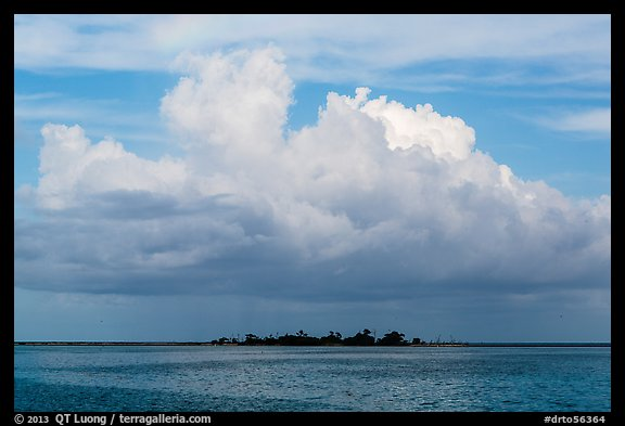 Vegetation-covered Long Key below tropical cloud. Dry Tortugas National Park (color)