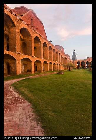 Inside Fort Jefferson at sunset. Dry Tortugas National Park (color)