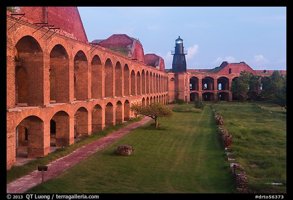 Walls and ruined barracks inside Fort Jefferson. Dry Tortugas National Park (color)