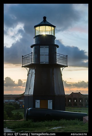 Harbor Light and gun at sunset. Dry Tortugas National Park (color)