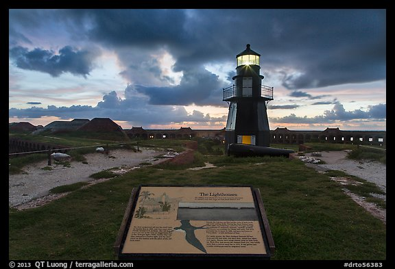 Interpretive sign, Harbor Light, and fort Jefferson. Dry Tortugas National Park (color)