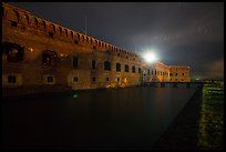 Fort Jefferson at night with Harbor Light. Dry Tortugas National Park, Florida, USA.