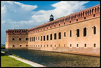 Moat, wall, and Harbor Light. Dry Tortugas National Park ( color)