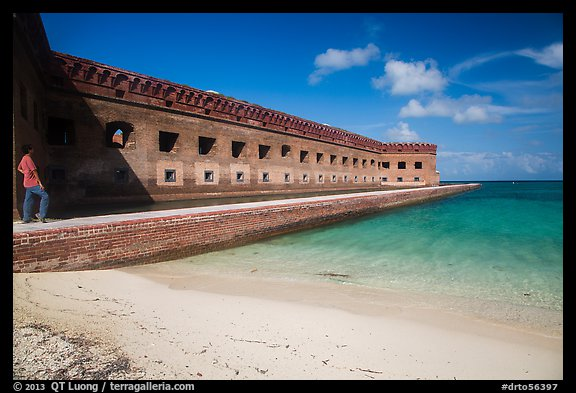 Park visitor looking, North Beach and Fort Jefferson. Dry Tortugas National Park (color)
