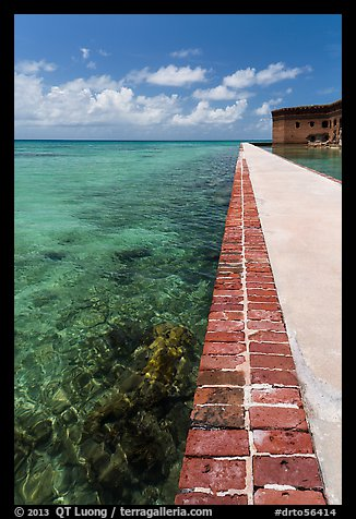 Seawall and coral reefs. Dry Tortugas National Park (color)